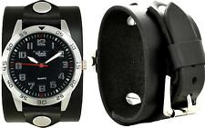 Men's Handcrafted Black Leather Cuff Watch; Wrap Around Cuff; Military Diver USA