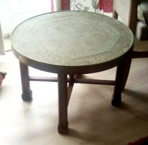 Antique DECORATIVE Brass Top Eastern Coffee SIDE Table with Folding Wooden Stand