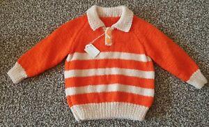 "Bnwt Knitted Orange Jumper Boys 18"" 3-6 Months Collared striped handmade"