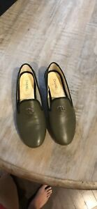 Chanel Lambskin Moccasin Loafer Green Sz 37 *AUTHENTIC*