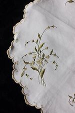 """Lovely Antique Society Silk Hand Embroidered Flowers On Linen c1900~15"""" Round"""