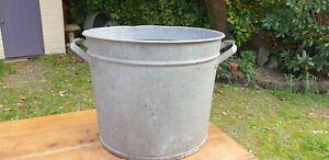 Genuine Vintage Galvanised Round Tub. Tree Garden Herb Planter, Container #117