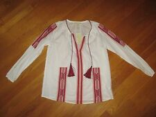 NWT Ladies Michael Kors White Cinnamon Peasant Boho Tie Blouse Size Medium $120