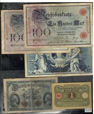 Assorted German  notes c1910   1 Mark  5 Mark  100 Mark x 3