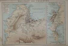 Landkarte Afrika, Kapstadt und Umgebung, Brockhaus um 1898