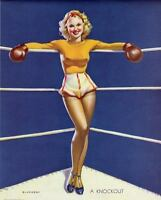 RETRO PINUP CANVAS Print 45cm Poster Gil Elvgren Sexy Boxing Girl Knockout