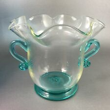 Hand Blown Vase Aqua Colored Glass Ruffle Top