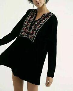 FREE PEOPLE Velvet Mini Dress Boho-Chic Tunic Style Embroidered Black BNWT 8 -10