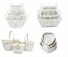White French Shabby Chic Wicker Easter Egg Hunt Kitchen Crafts Storage Basket