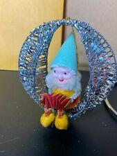 5 Vintage Elf Pixie Gnomes Christmas Tree Ornaments Chenille Aluminum Mesh Frame