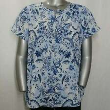 CJ Banks Top 1X NWOT White Blue Chiffon Floral Cap Short Sleeve Tie Neck Blouse
