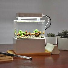 Fish Tank Aquarium Water Filtration Small Tank Led Lamp + Air Pump Home Office