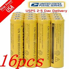 16x 18650 3.7V 9800mAh Yellow Li-ion Rechargeable Battery Cell For Torch LED US
