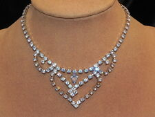 "Vintage Light Blue Rhinestone Silver Tone 14"" Choker Necklace"