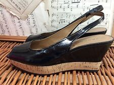CORK WEDGE Sandals Black Patent Leather TAHARI SLINGBACK HEELS Open Toe Shoes 8M