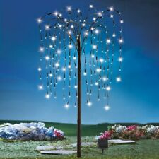 4 Foot Tall Solar Powered White LED Weeping Willow Christmas Garden Tree