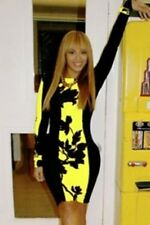 Women Celebrity Long Sleeve Yellow Color Block Stretch Midi Bodycon Dresses