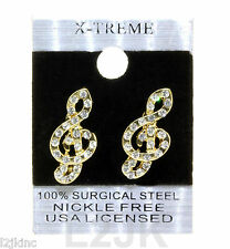 Gold Tone Clear Iced Out Hip Hop Music Notes Shape Cz Womens Stud Bling Earrings