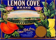 Lemon Cove Tulare County Scenic Lemon Citrus Fruit Crate Label Art Print
