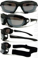 A71 Matte White Black Smoke Mirror Padded Motorcycle Sunglasses Goggles W Strap