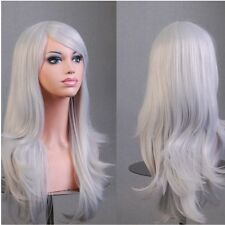 Extra Thick Women Ladies Cosplay Wig Ombre White Pink Long Curly Straight Hair A