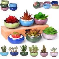 Ice Crack Glaze Flower Ceramics Succulent Plant Mini Pot Garden Flowerpot Bs