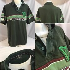 Guinness Irish Rugby Polo Shirt XXL Green Built-In T-Shirt EUC YGI 5395