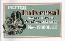 Petter Universal Small Power Oil & Petrol Engines Sales Catalogue Reprint 1929