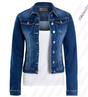Womens Fitted Denim Jacket Stretch Indigo Blue Jean Jackets Size 8 10 12 14