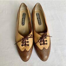 Brown Leather Capezio Wing Tip Tie shoes Women's size 7 M Low Heel Preppy Vtg