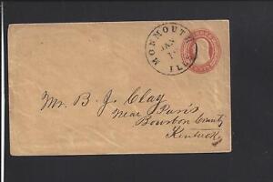 MONMOUTH, ILLINOIS, S.O.N. CANCEL,3CT NESBITT COVER TO KENTUCKY, WARREN CO 1841/