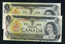 1973  UNC Canada 2x1 dollar Bills Lawson/Bouey 2 Letters In Sequence