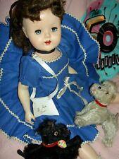 "Horsman 1950s Lu Ann Simms head turning walker doll, 21"" all orig.purse & record"