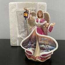 "Bradford Thomas Kinkade Winter Angel of Hope Angels of Light Illuminated Mip 8"""