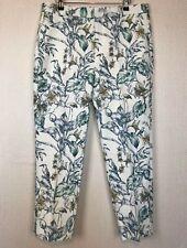ZARA Cream Green Leaf Floral Trousers XL Cotton Occasion Wedding Bird Pants