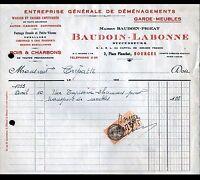 """BOURGES (18) TRANSPORT / DEMENAGEMENTS """"PIGEAT / LABONNE & BAUDOIN Succ"""" en 1935"""