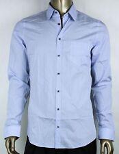 $425 New Gucci Men's Sky Blue Cotton Fine Stripe Shirt 307661 Z3756 4910