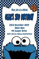 Cookie Monster Sesame Street Personalised Birthday Party Invitations Boy or Girl