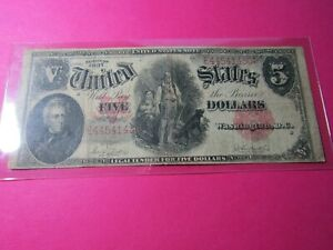"1907 $5 Five Dollar ""Woodchopper"" US Note Legal Tender F87 - VF+"
