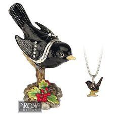 SECRETS HIDDEN TREASURES - BLACK BIRD WITH NECKLACE - NEW IN BOX