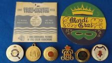 Vintage Lot New Orleans Mardi Gras Items Krew Pinbacks View Master Medal & More