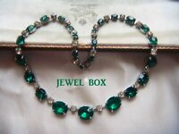 EARLIER VINTAGE Large Grad Emerald Crystal Clear Rhinestone RIVIERE NECKLACE
