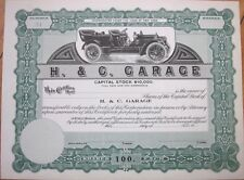 1910 Car/Automobile/Auto Stock Certificate: 'H&C Garage' - New York