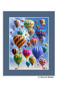 Hot Air Balloon Lenticular 3D Matted Picture Poster Print Wall Art Home Decor
