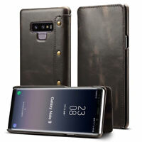100% Real Genuine Leather Flip Wallet Case Cover For Samsung Galaxy Note 9 S10+