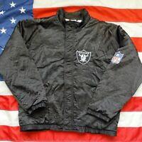 Vintage Oakland Raiders Apex One NFL Jacket Mens Sz L Black Spell Out VTG EUC