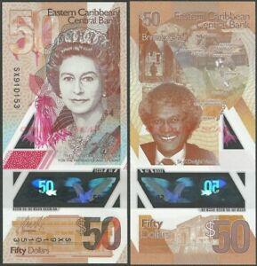 EAST CARIBBEAN 50 DOLLARS 2019 P NEW B243 POLYMER QE II UNC