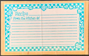 Rubber Stamp Recipe Card From The Kitchen Of Blank Lines