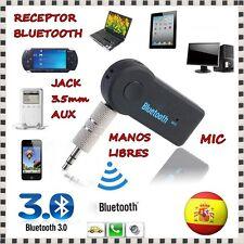 ADAPTADOR RECEPTOR BLUETOOTH 3.0 COCHE AUTORADIO MANOS LIBRES JACK 3.5mm AUX MIC