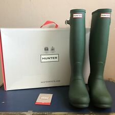 New In Box Hunter Rain Boots Women's Original Tall Green US Size 8 UK 6 Shoes